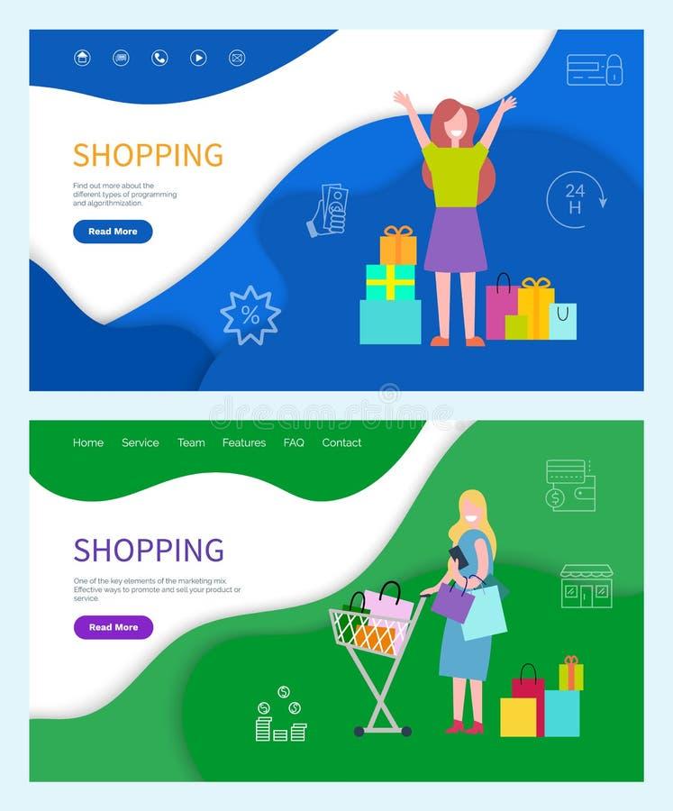 购物的服务和编程的传染媒介 向量例证