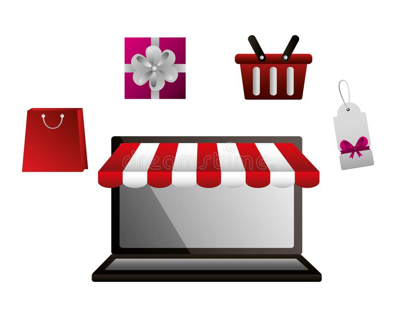 购物的网上膝上型计算机篮子礼物袋子和标记价格 皇族释放例证