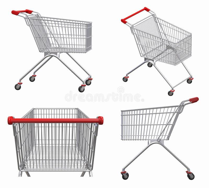 购物的,市场, 3d推车回报例证 向量例证