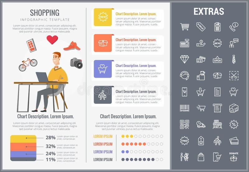 购物的infographic模板、元素和象 库存例证