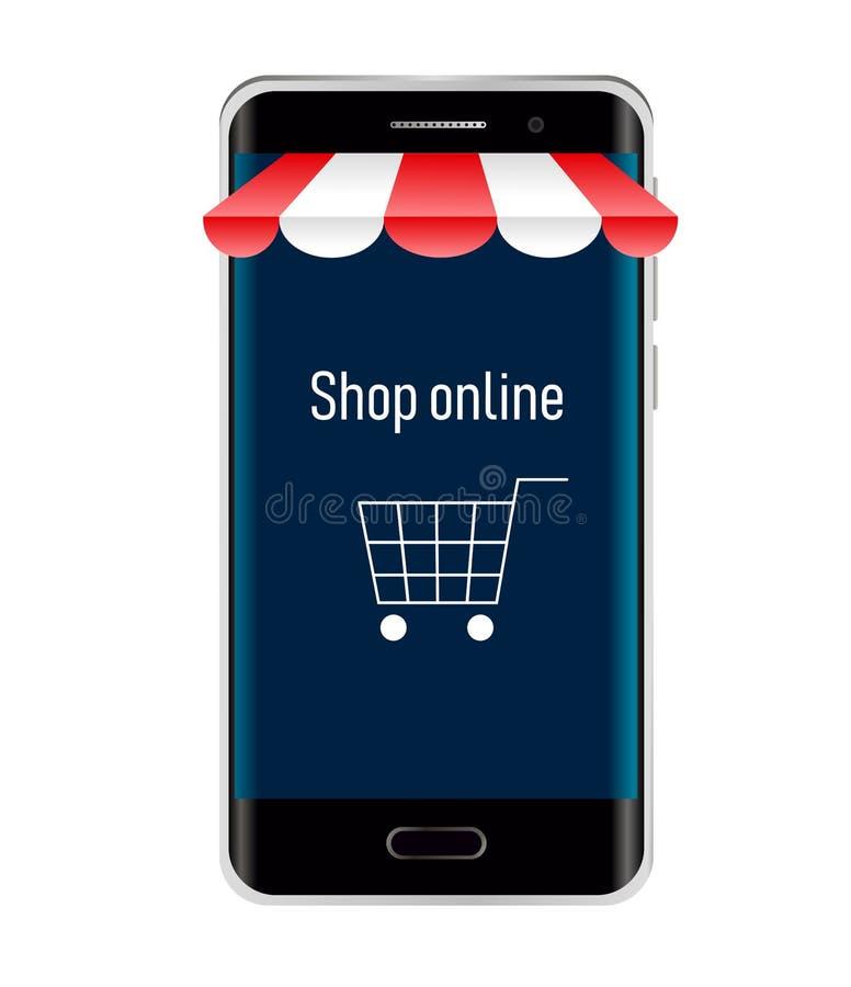 购物网上在网站或流动应用上 传染媒介概念和数字营销在白色背景 现代设备 向量例证