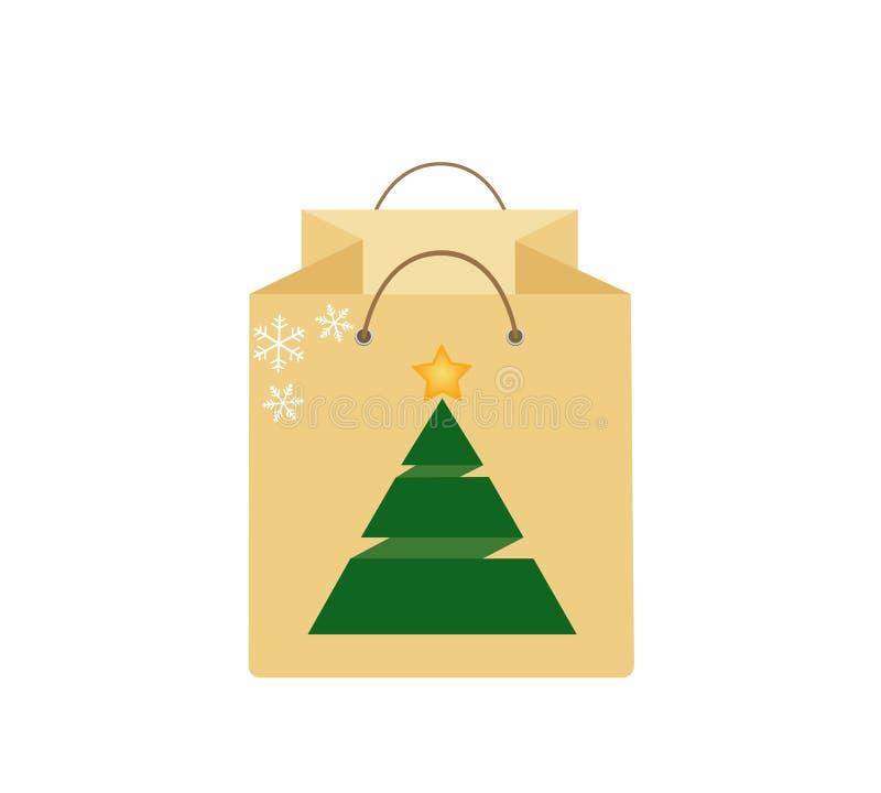 购物袋与圣诞树的礼物 库存例证