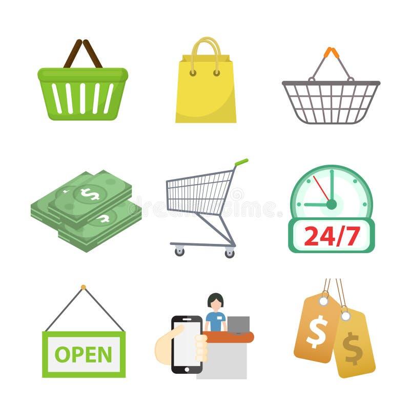 购物象集合,平的样式 商店在白色背景隔绝的象收藏 存放对象和项目 向量 向量例证