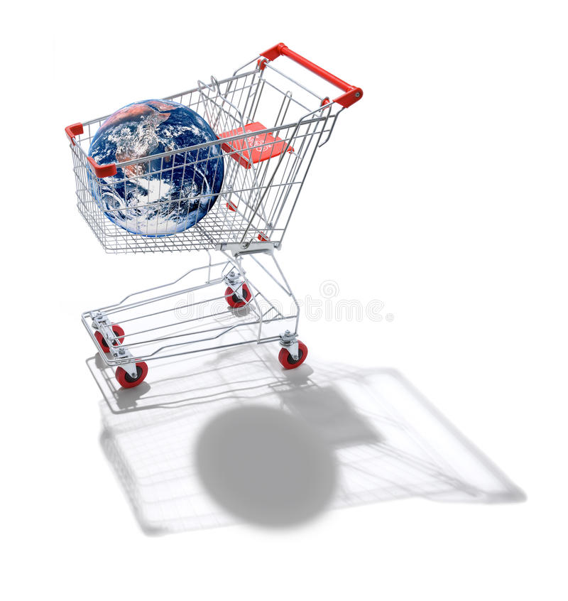 购物车全球化购物世界 向量例证