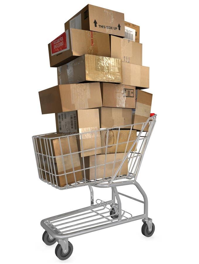 购物车包装发运购物 库存例证