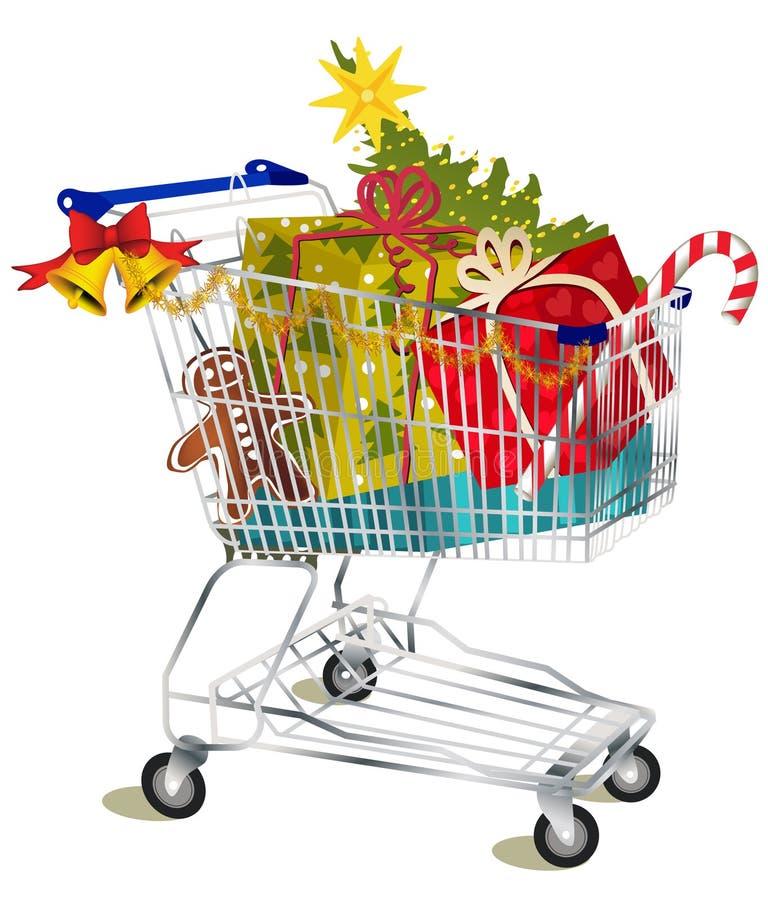 购物车圣诞节购物 库存例证