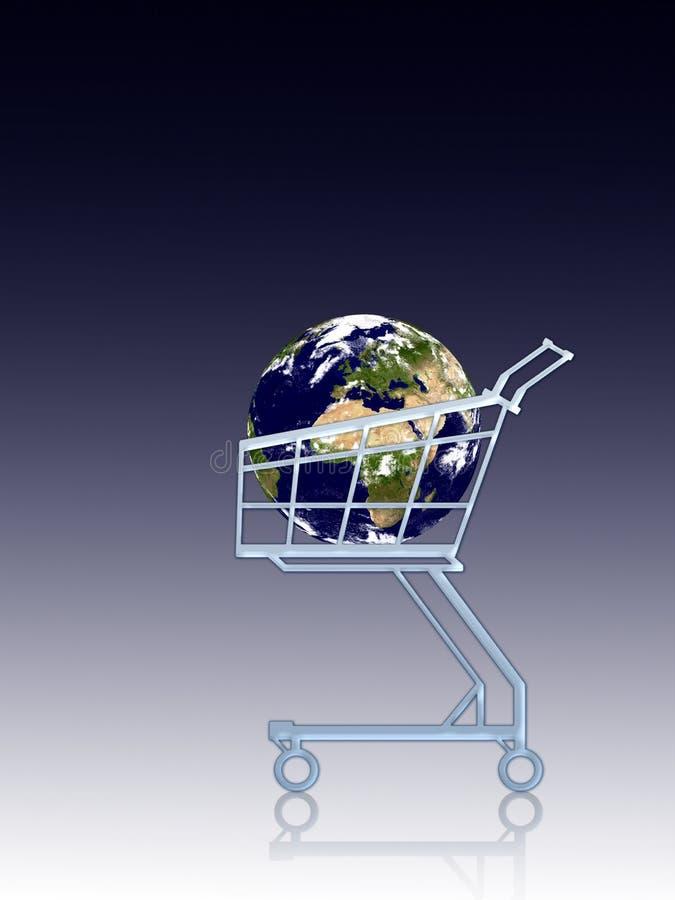 购物车地球 皇族释放例证