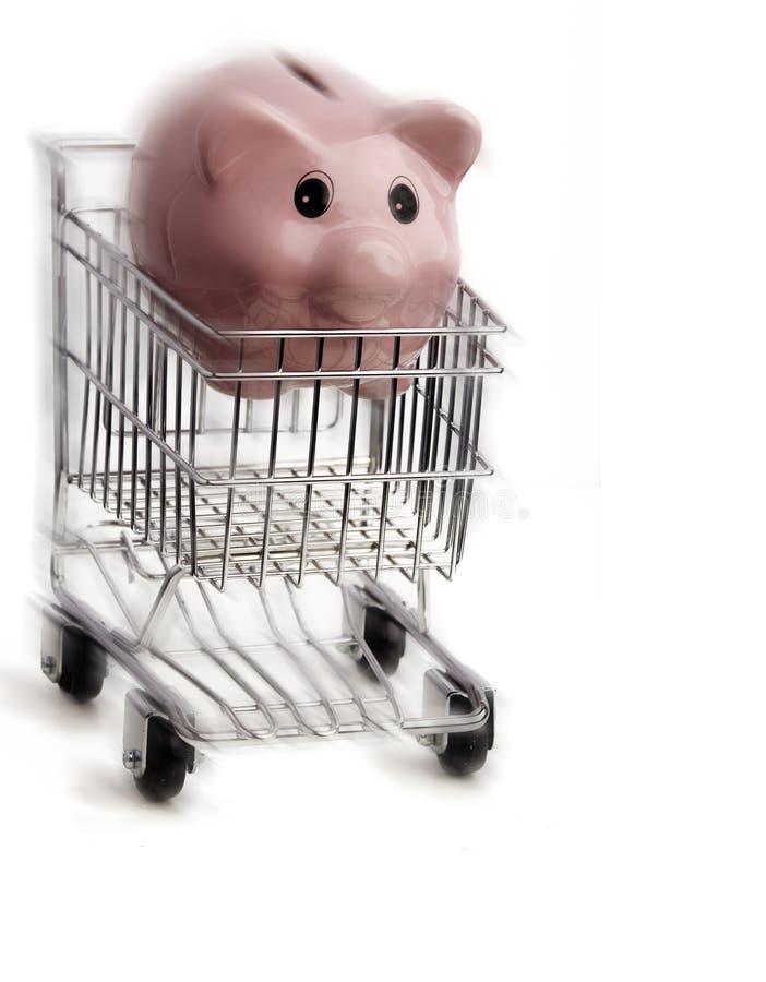购物车快行piggybank购物 库存照片