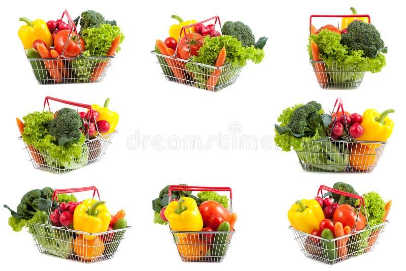 购物车拼贴画用完善的水果和蔬菜 免版税库存图片