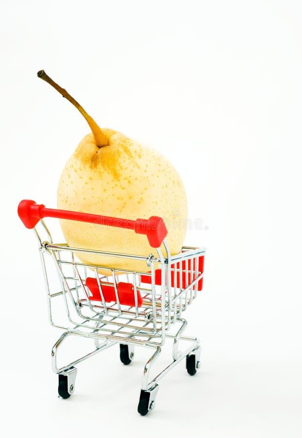 购物车梨购物 库存图片