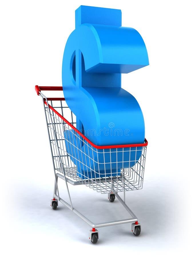 购物车美元购物 向量例证