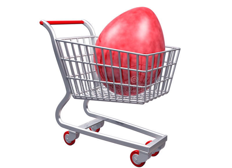 购物车蛋巨型购物传统化了 向量例证