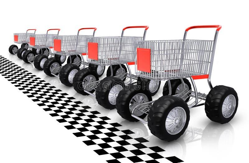 购物车行购物等待 向量例证