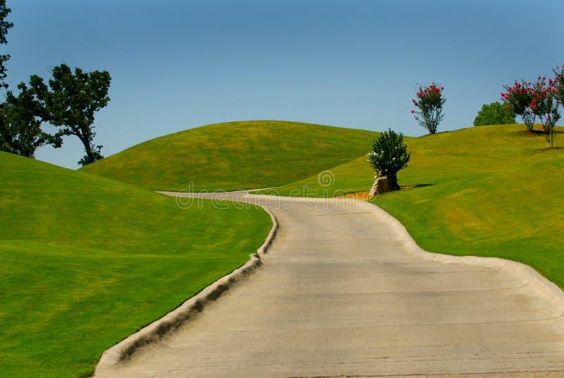 购物车高尔夫球路径 图库摄影