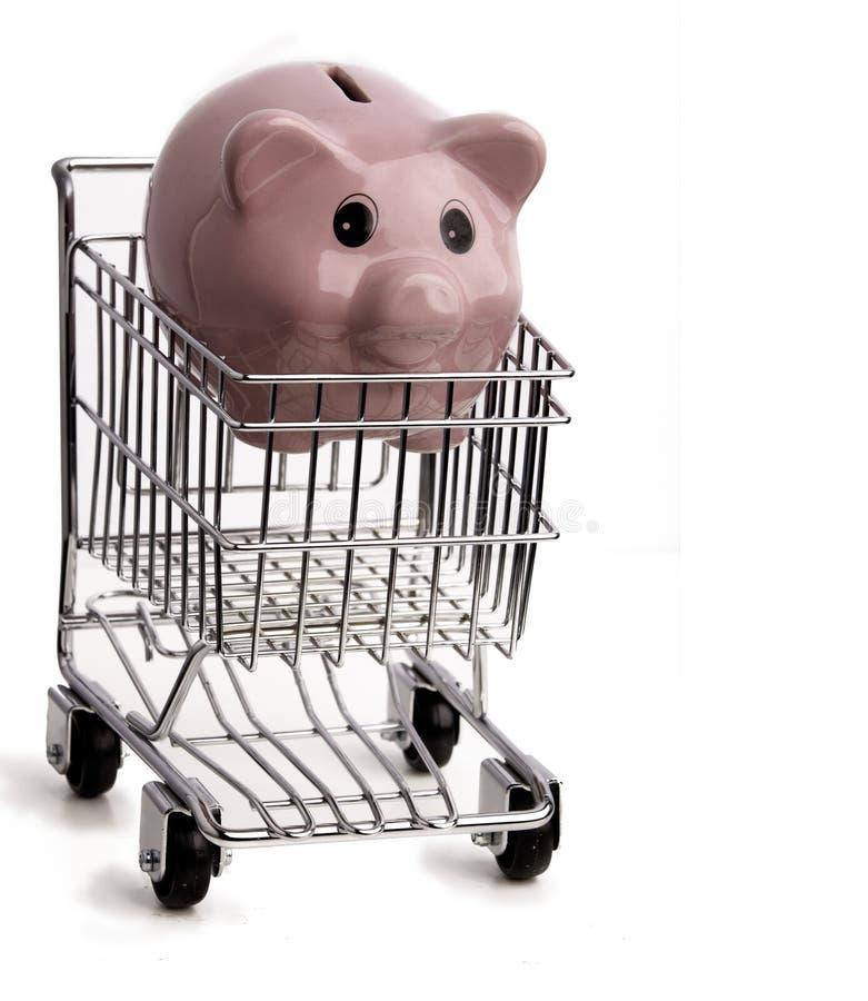 购物车piggybank购物 库存照片