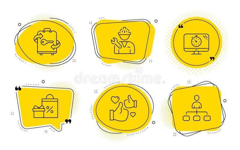 购物,Seo定时器和安装工象集合 行李、喜欢和管理标志 ?? 库存例证