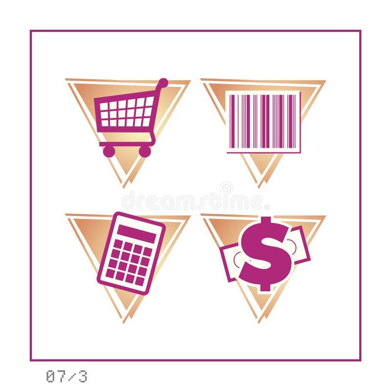 购物: 图标设置了07 -版本3 库存照片