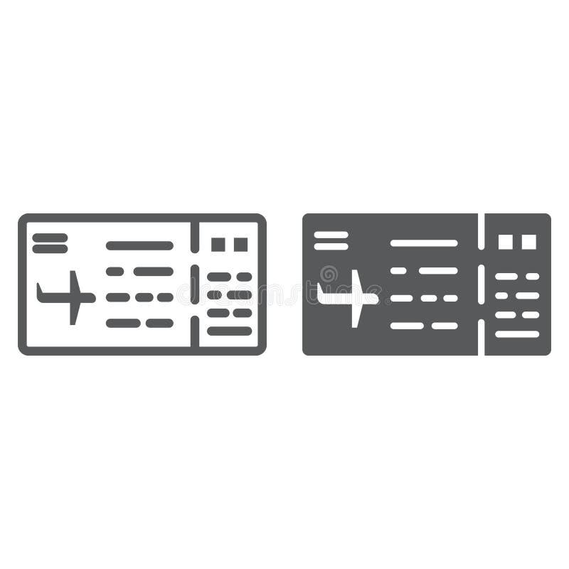 购票线路和纵的沟纹象、通行证和旅游业,飞机票标志,向量图形,在白色背景的一个线性样式 向量例证