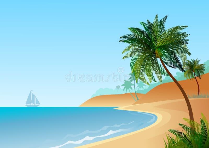 贴墙纸与海风景,与海滩和棕榈树 向量例证