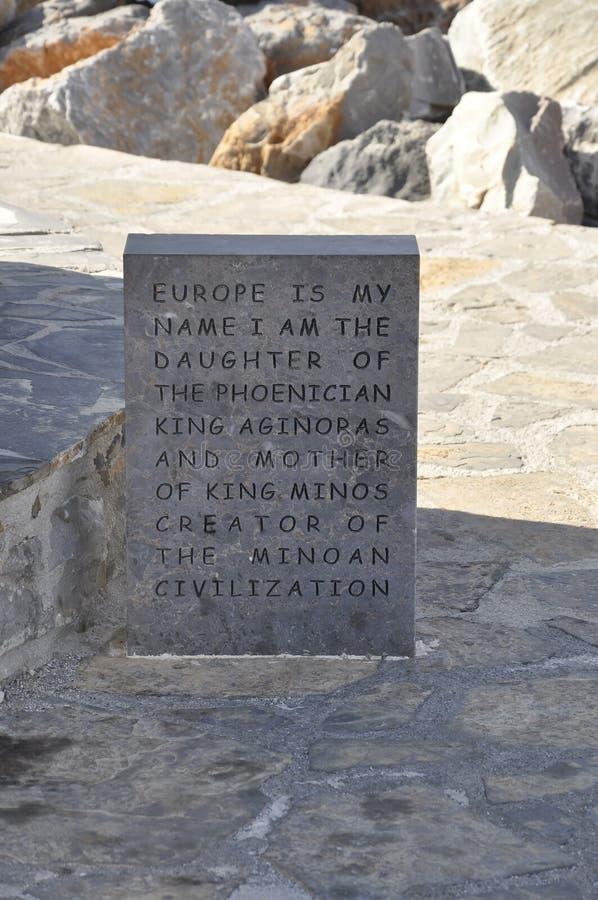 贴水帕帕佐普洛斯,威严第31:欧洲雕象牌匾从贴水帕帕佐普洛斯的在克利特海岛上 库存照片