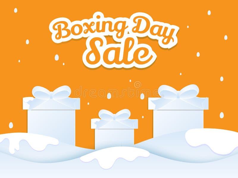 贴纸与礼物盒的样式文本圣诞节次日在冬天大局 向量例证