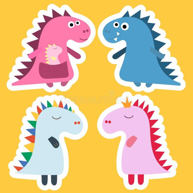 贴纸恐龙 酷的恐龙传染媒介设计 婴孩设计 迪诺生日集合 恐龙滑稽的动画片,传染媒介 库存例证