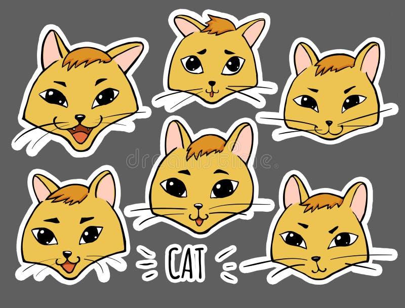 贴纸意思号固定情感-猫` s面孔 向量例证
