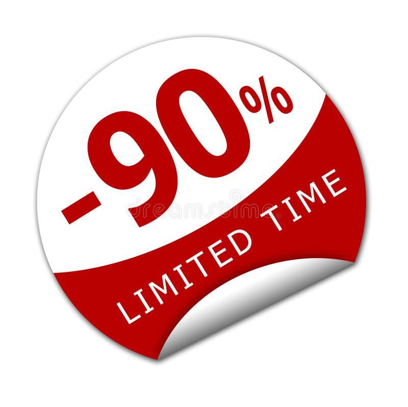 贴纸有限时间内百分之九十 向量例证