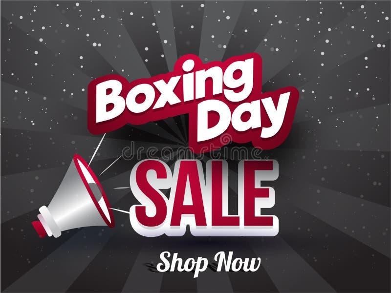 贴纸样式文本与扩音机的圣诞节次日销售在灰色光芒b 向量例证