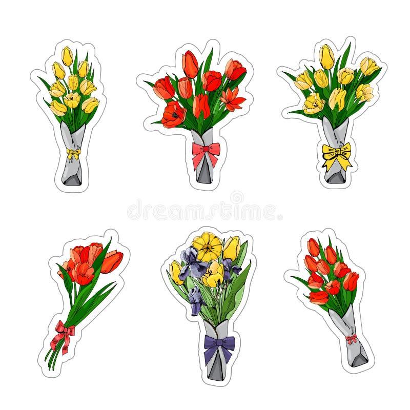贴纸的一汇集从红色和黄色郁金香,紫色虹膜花束的  手拉的grapihic和色的剪影 库存例证