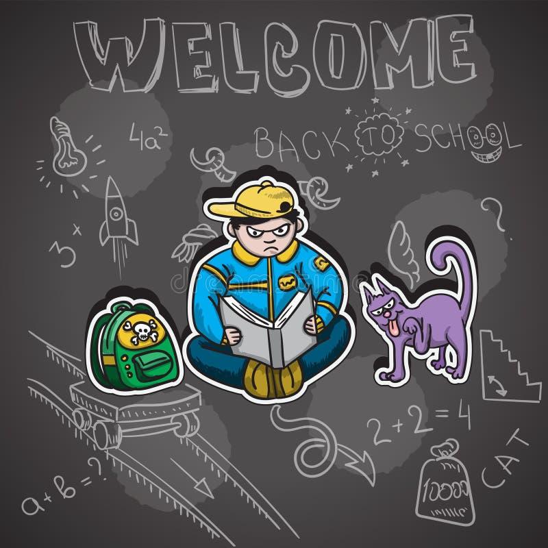 贴纸的传染媒介例证,回到学校 男小学生在校务委员会背景的猫背包与粉笔画,用手 向量例证
