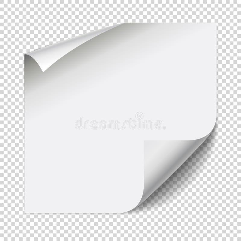 贴纸纸笔记 与卷曲的角落的白色板料 向量例证