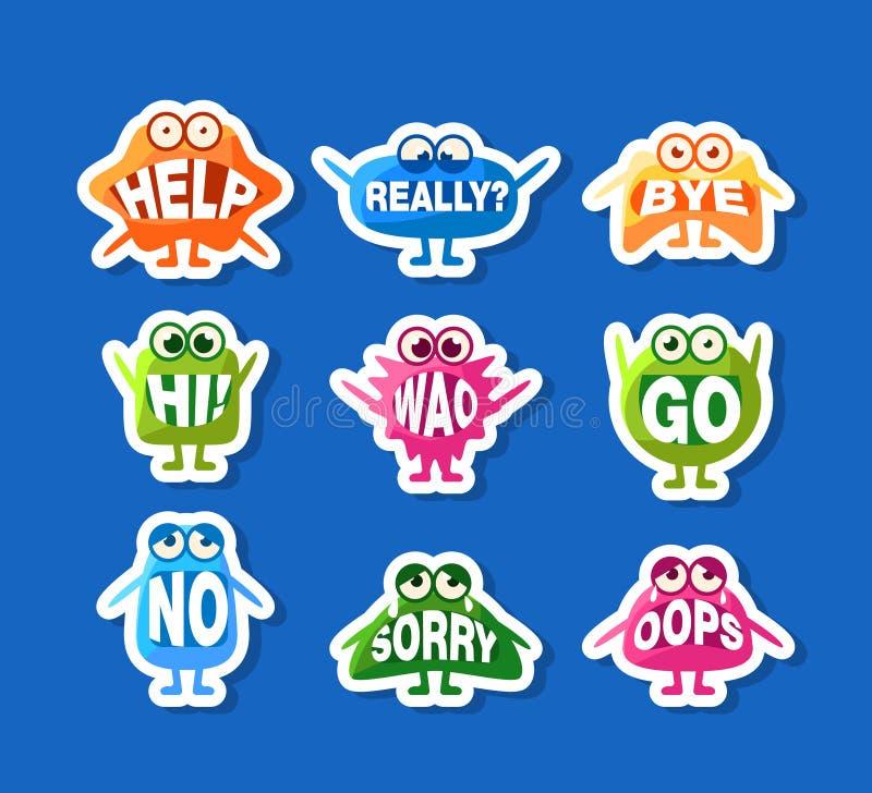 贴纸设置的逗人喜爱的妖怪,与词的滑稽的Emoji字符在他们的嘴导航例证, 库存例证