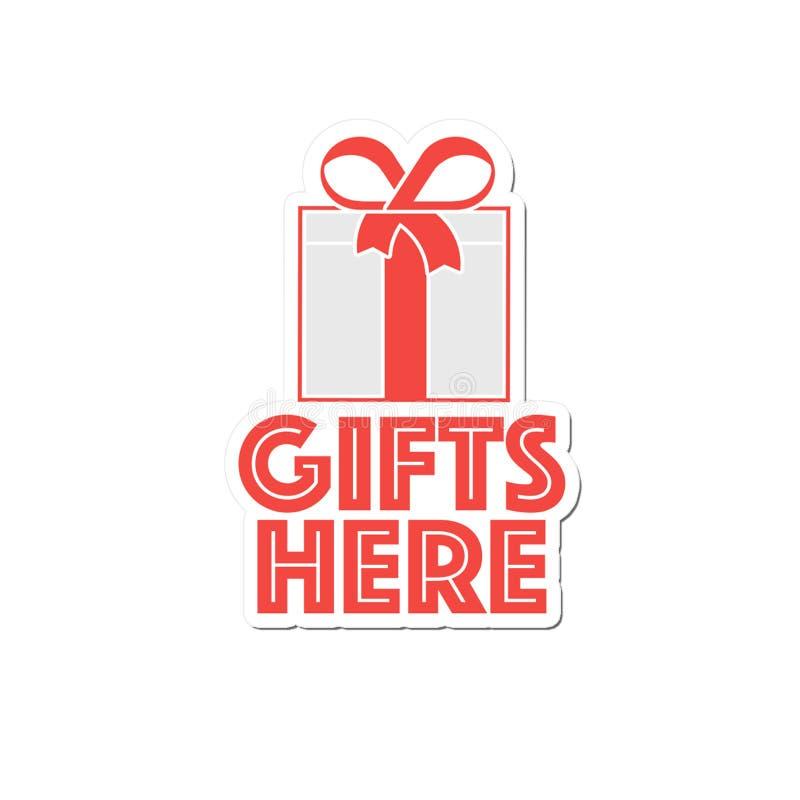 贴纸这里`礼物` 向量例证