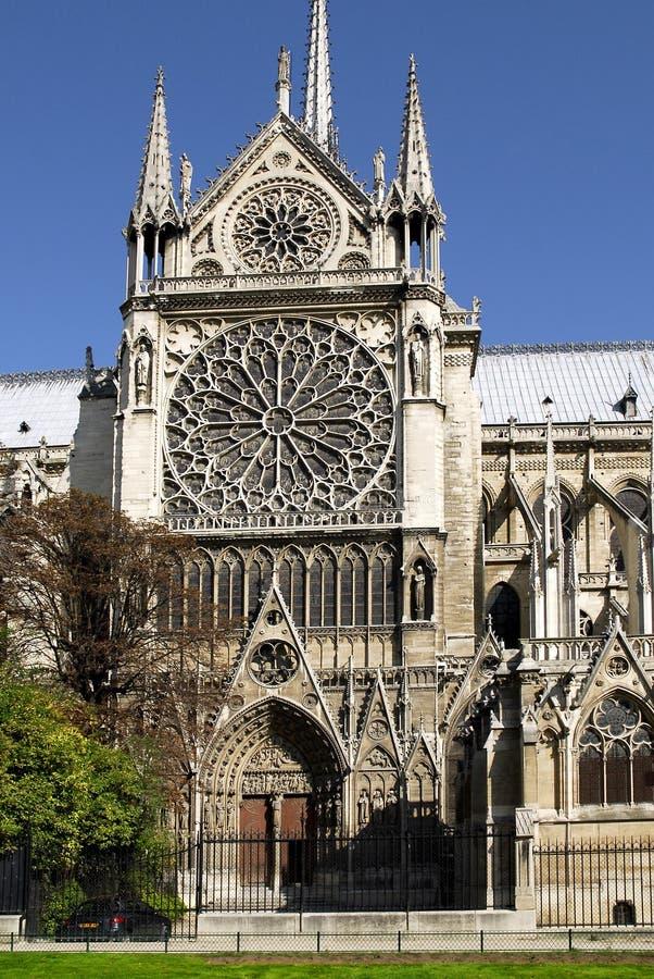 贵妇人门面notre南的巴黎 免版税库存图片