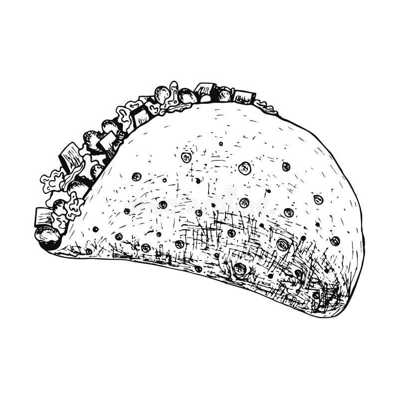 贷方笔概述详细的墨西哥炸玉米饼象 向量例证