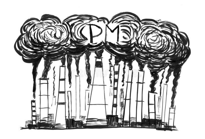 贷方难看的东西手画抽烟的烟窗,产业或工厂粒状物质或PM空气的概念 皇族释放例证