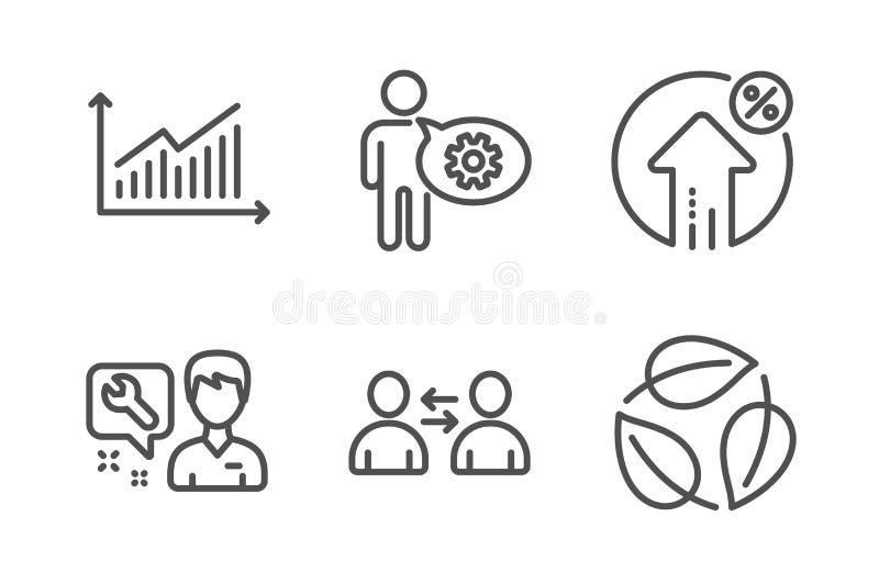 贷款百分之,钝齿轮和图表象集合 安装工、通信和叶子标志 ?? 库存例证