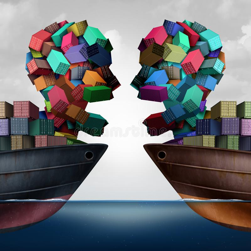 贸易争端经济战斗 向量例证