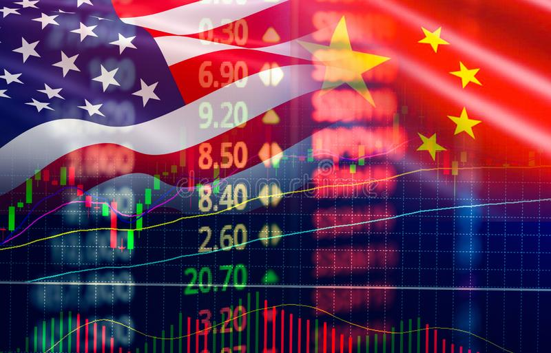 贸易战经济美国美国和中国旗子烛台图表股票市场交换分析 库存图片