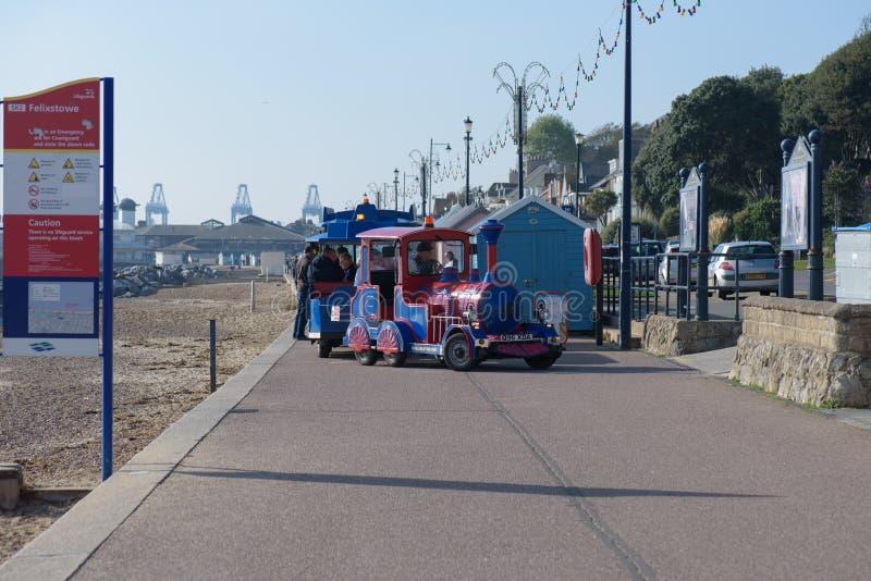 费利克斯托,英国- 2018年10月20日-沿海岸区火车d 库存照片