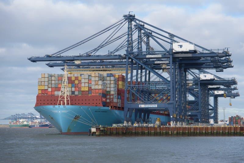 费利克斯托,英国- 2019年1月27日:马士基线集装箱船米兰马士基靠了码头在费利克斯托口岸在有其他的萨福克 免版税库存图片