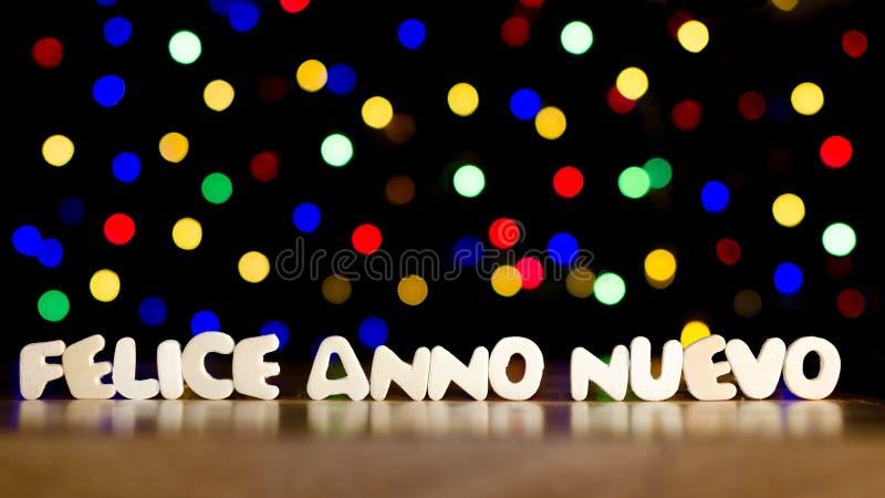 费利斯anno nuevo,在意大利语新年好 图库摄影