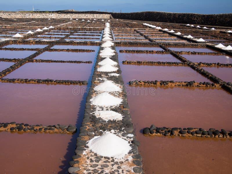 费埃特文图拉岛盐平底锅,加那利群岛 免版税库存图片