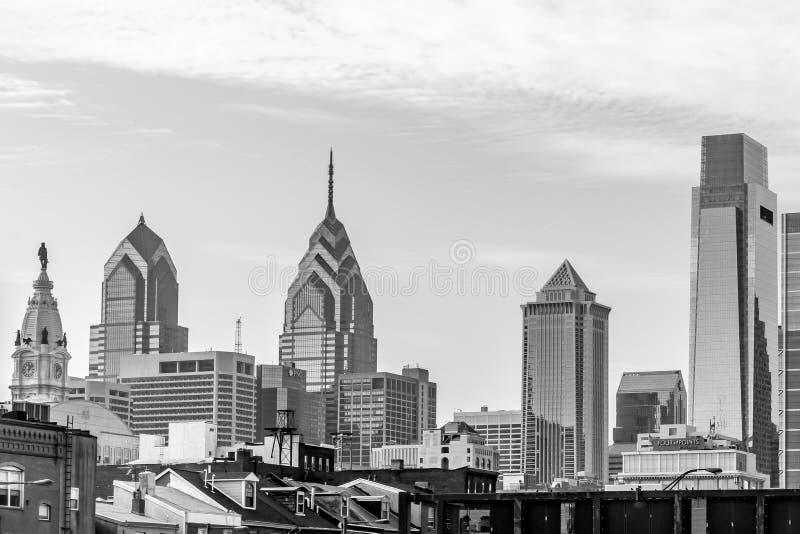 费城、宾夕法尼亚、美国- 2018年12月-地平线的看法和顶面os大厦 库存图片