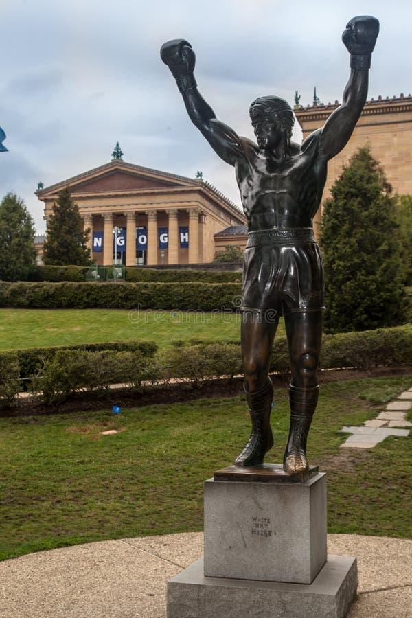 费城岩石雕象 免版税库存照片