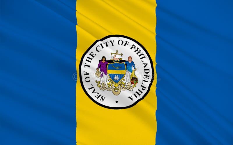 费城市旗子在宾夕法尼亚,美国 库存例证