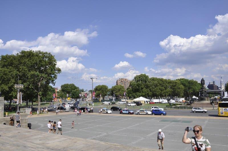 费城, PA, 7月3日:从费城的全国美术馆广场在宾夕法尼亚美国 库存图片