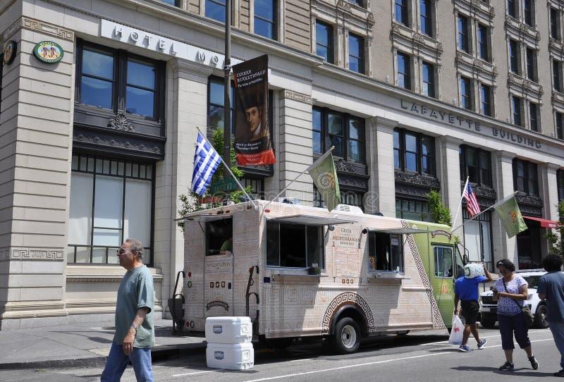 费城, PA, 7月3日:Foodcart街市费城在宾夕法尼亚美国 库存照片