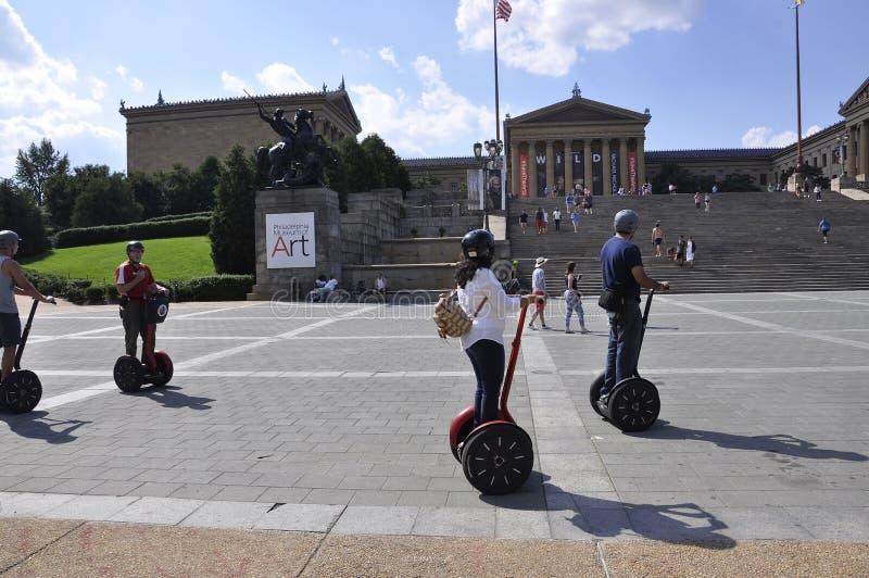 费城, PA, 7月3日:Segway车手在宾夕法尼亚美国编组街市费城 免版税图库摄影